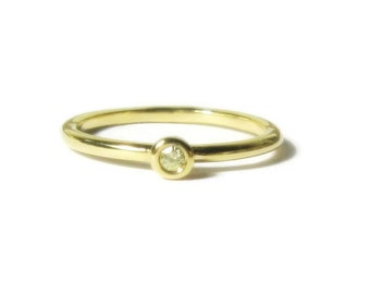 Yellow Diamond 14k Gold Stacking Ring, Engagement, Promise, Minimalist, yellow, rose, white gold, Made to Order