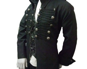 Steampunk Mens Trench coat with frogging detail