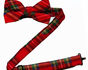 Toddler Bow Tie w/Adjustable Band - Red Plaid