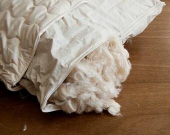 Kapok Pillow. Organic Cotton Quilting. 50x75cm.