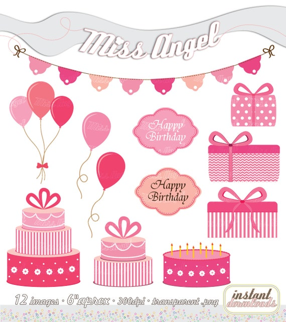 Pink Birthday Party Clipart 12 Digital Bday Party Clipart