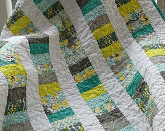 Baby Stacked Coins Quilt in Teal and Grey, ready to ship