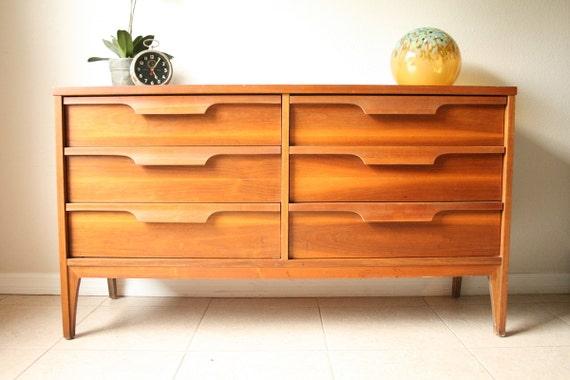 Mid Century Johnson Carper Double Dresser Vintage Danish