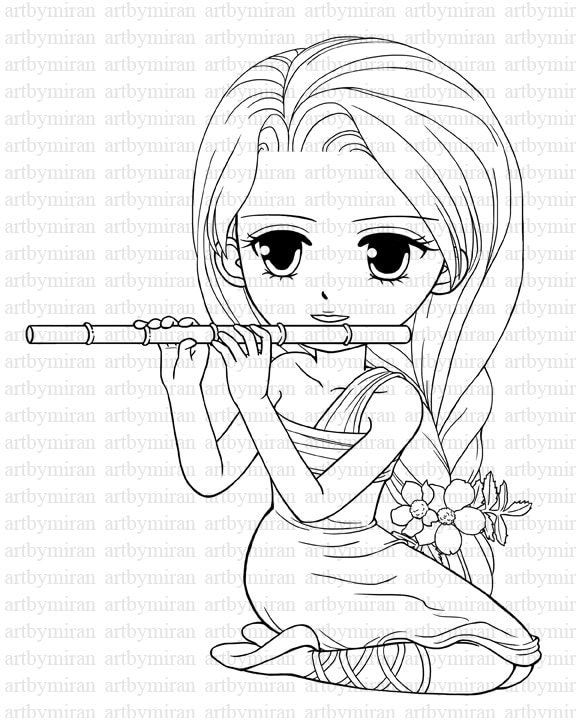 digi stamp serenade pretty girl coloring page big by artbymiran american girl coloring pages 2
