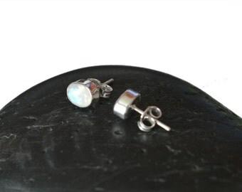 9mm Rainbow Moonstone Sterling Silver Stud Earrings in Bezel Setting - Bezel Moonstone Silver Studs - Gemstone Oval Moonstone Post Earrings