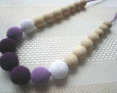 Purple necklace/Teething Necklace/ Breastfeeding Necklace /Wooden knitted with crochet purple necklace/ Natural cotton
