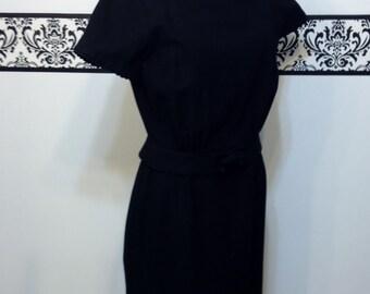 1950's Black Wool Audrey Hepburn Dress,  Size Small, Vintage Black Wool Day Dress 1950's Pin Up / Rockabilly Dress