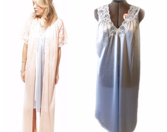 Vintage 1980s Blue Nightgown/ Slip with Lace Overlay at the Neckline