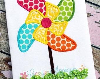 Pinwheel Machine Embroidery Applique Design 4 Sizes