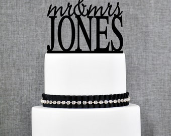 Modern Last Name Wedding Cake Toppers, Unique Personalized Wedding Cake Topper, Elegant Custom Mr and Mrs Wedding Cake Toppers- (T012)