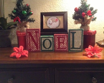 Noel / Decorative Block Letters / Holiday Home Decor / Wood Block Letters / Christmas Decorations / Decorative Letters/ Holiday Decorations/