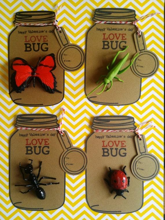 items similar to valentine love bug mason jar cards