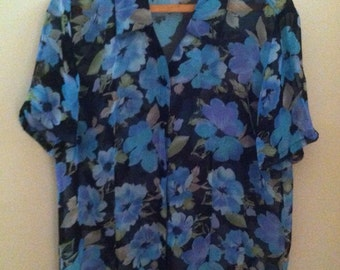 90s floral sheer button up blouse