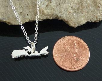 Tiny Sterling Silver Nova Scotia Necklace / Custom Heart / Small Nova Scotia Necklace / Love Nova Scotia  / Province Necklace
