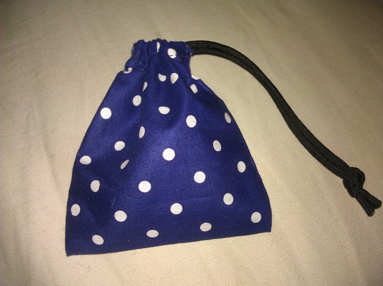 Blue and white polka dot dice bag with paracord drawstring by for Paracord drawstring bag