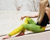 Tie Dye Yoga Leggings in Lemon Lime - Yellow and Green Leggings