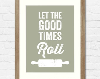 Rolling Pin Baking Typographic Print | Available Framed or Unframed