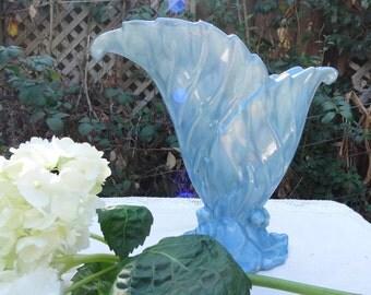 Vintage Art Deco Aqua Blue Ceramic Flower Vase Two Leaf