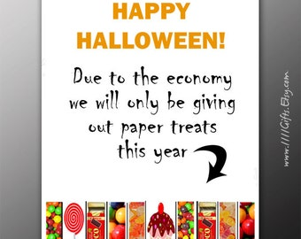 Funny Halloween Tear-Off Flyer * Due to the Economy Printable Door Sign Decor * Trick or Treat Sign, Halloween Decorations *Instant Download