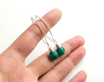 Emerald earrings, Silver emerald earrings, genuine emerald, Green emerald, May birthstone earrings, Green drop, Green stone, Dangle earrings