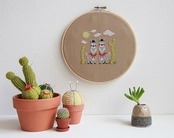 Hola Llama modern cross stitch pattern PDF download - includes chart and instructions