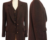 On hold for client *** Adorable fitted Vintage vtg 1980's Korean Ladies Business Suit Jacket & Vest Wool metallic Blend
