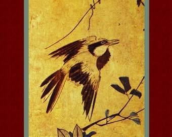 "Old Japanese painting. ""Flowers and Birds"" (2). Asian art. Fine art. Asian painting."