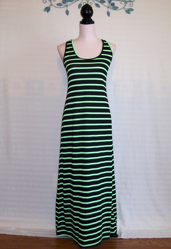 Maxi sundress black lime green sporty dress by for Bright green t shirt dress