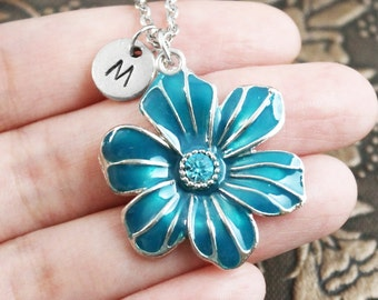 Personalized Statement Necklace, Initial Necklace, Resin Necklace Blue Flower Pendant Necklace Flower Charm Monogram Necklace Pretty Jewelry