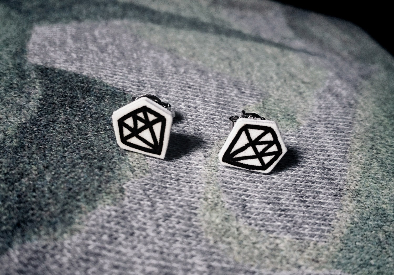 Line Art Earrings : Cute diamond earrings line drawing studs by sadtomatoandco