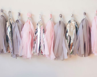 Blush Pink, Grey, Silver Tassel Garland