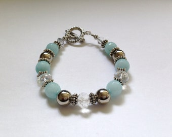 SKY BLUE Natural Stone - Vintage Bracelet // Blue Natural Stone Jewelry // Blue Natural Stone Bracelets // Silver Bracelets // Blue Crystal