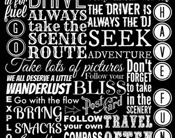 Instant Download Printable Art, Printable Quotes, Road Trip Rules Travel Trailer Decor, Adventure Print Inspirational Quote Typography Print