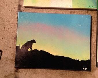 Wild Mountain Cat Silhouette Stencil