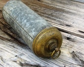 Antique French hot water bottle, brass and galvanized metal.  French vintage. Industrial.