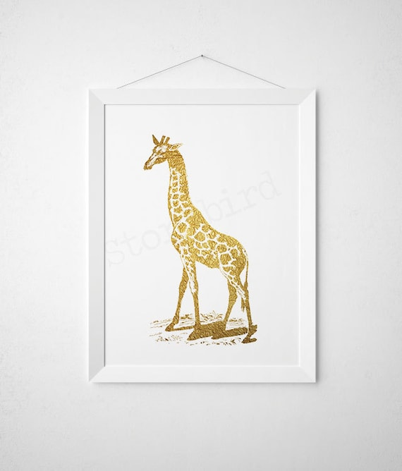 giraffe print nursery prints faux gold foil by wallandwonder