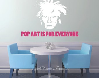 Warhol Decal Andy Warhol Pop Art is for Everyone Text Face Celebrity Famous Silhouette Wall Decal