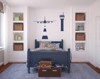 Airplane Decal Airport Tower Wall Sticker Plane Landing Strip Aviation Pilot Radio Air Traffic Jet Flight Runway Decal Boys Bedroom Playroom