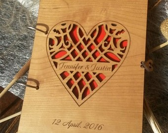 Personalized guest book, wedding guest book, wood guest book, wooden heart guest book, custom guestbook