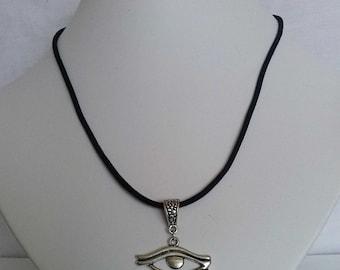 Large Eye of Horus Egyptian Necklace , Velvet Cord Necklace , Eye of Ra , Wedjet Necklace , Egyptian , Handmade Jewelry , Egyptian Revival