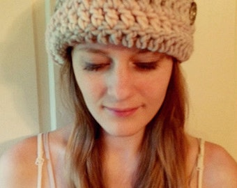 Beige Stripe Crochet Hat