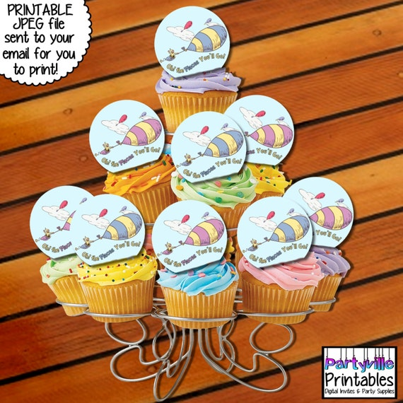 Dr. Seuss CUPCAKE TOPPERS Oh The Places by ...