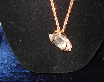 HUGE crystal, triple terminated, copper wrap, vintage copper chain  FunkyAlternativeJewelry, GeekyFreakyUnique-y, HandmadeJewelryGuild, WWWG