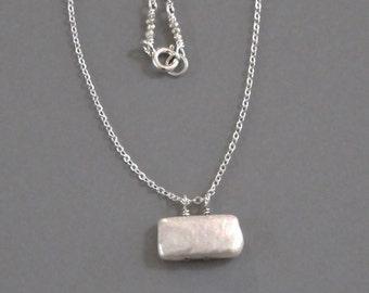 White Rectangular Pearl Necklace Sterling Silver Chain  DJStrang Boho Minimalist