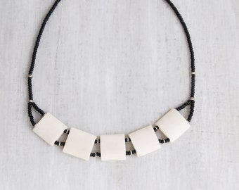 Vintage Bone Collar Necklace - curved squares with black seed beads - tribal boho chic jewelry