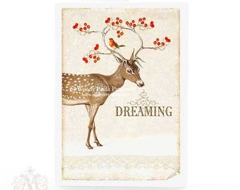 Deer, Christmas card, holiday card, reindeer, dreaming of a white Christmas, antlers, red berries, robin, vintage style, greeting card