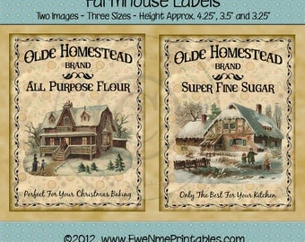 Primitive Winter Christmas Label - Crate Label - Old Homestead Flour - Olde Homestead Sugar - PDF or JPG File