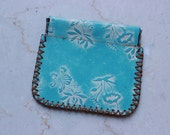 Leather Coin Purse, Embossed Turquoise, Floral pattern, Metal Mouth, Vintage