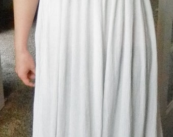 Floor length Wedding dress, Flower girl, Junior bridesmaid, Nightgown, sleepwear, white cotton gauze peasant dress