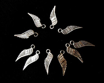 Bead Charm Silver Antiqued  10 charms for Bracelet Necklace wing Pin Craft Supply Jewelry Supply #183
